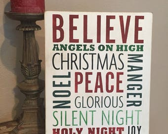 Christmas word art/Wood signs/distressed signs/farmhouse decor