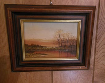 Small Landscape Painting Oil on Masonite Vintage Signed Hamiel