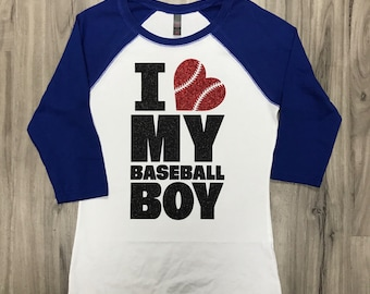 I Love My Baseball Boy Glitter Baseball Tee Mom's Baseball Shirt Baseball Season Glitter Women's Baseball Raglan Tee