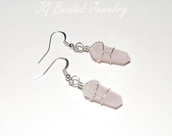 Wire Wrapped Pink Rose Quartz Crystal Earrings, Love Stone