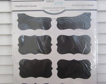 Black Write-On, Wipe-Off Adhesive 2 x 3 Inch Chaklboard Labels - Package of 40
