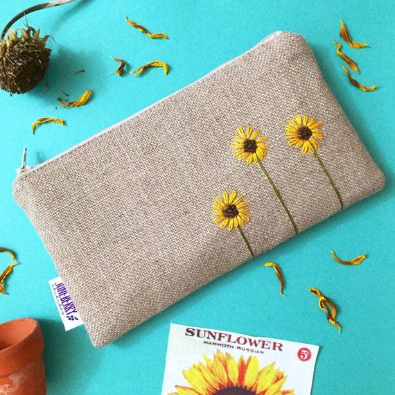 Sunflower Burlap Clutch Zipper Pouch Hand Embroidered
