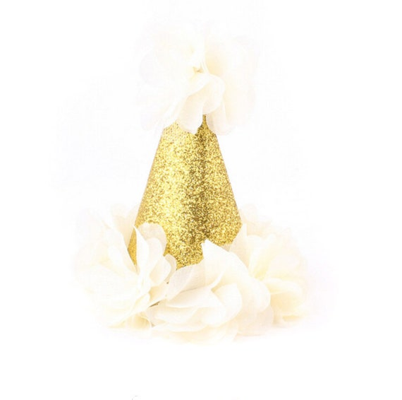 """Mini First Birthday Photoshoot Hat, 5"""" Smash Cake Party Hat,  Birthday Crown, Birthday Photo Prop Cream Party Hat Fabric Glitter Gold One"""
