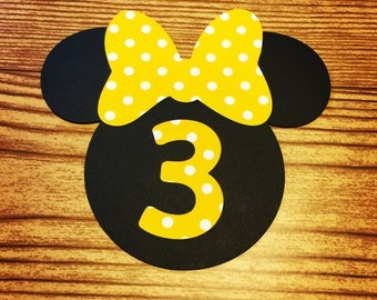 Minnie Mouse Cut Outs with Bows & Birthday Number -AGE 3 (Various Sizes and Colors Available)