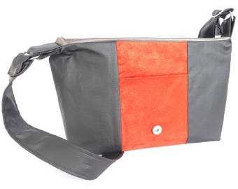 Orange/black Imitation leather messengerbag