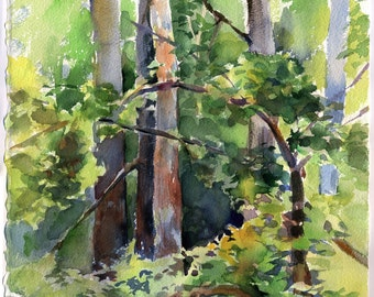 Print of Forest watercolor painting, green trees - painting, archival paper