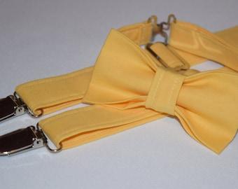 Marigold yellow suspenders and  bow tie set. Yellow suspenders for baby, toddler and boys. bow tie and suspender set. Adjustable