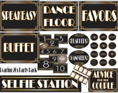 Roaring 20s Sign & Decor Digital ~ Flappers, Gangsters, Cupcake Toppers, Selfie Station, Advice Couple, Table #, Favors, Dance Floor, Buffet