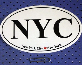 New York City (NYC) Oval Bumper Sticker