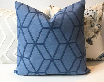 Bright blue geometric cube indoor outdoor decorative pillow cover