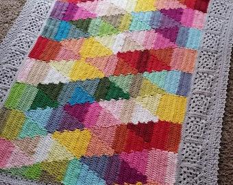 Crochet blanket Pattern/CypressTextiles/Birdsong Blanket/modern traditional motif texture circle unique throw tutorial