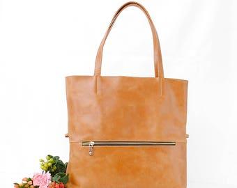 Leather bag leather tote bag full grain cow hide laptop bag Handmade to order Light brown