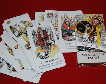 Tarot card deck for fortune telling. Illustrated tarot deck. Tarot card set. Wheel of fortune. Tarot cards full deck