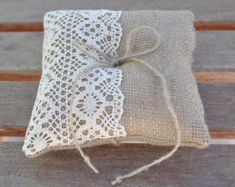 Burlap ring pillow  Burlap Ring Bearer Pillow with Ivory Cotton lace Ring cushion Woodland / Rustic / Cottage style Weddings