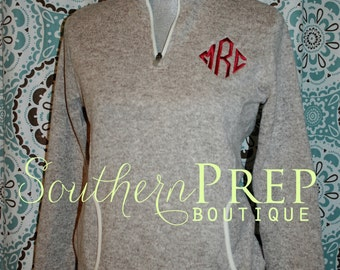 Monogrammed Fleece Heather Pullover  - Charles River Apparel