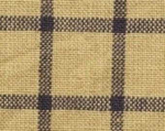 Vintage Ticking | Homespun | Primitive Fabric | Country Fabric | Navy & Wheat