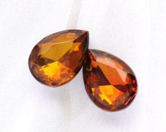 LAST ONES: 18x13mm Two-Tone Topaz 18x13mm Pear Teardrop Glass Jewels Stones Gems, Foiled Backs, Quantity 2