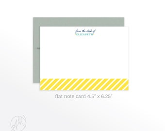 Personalized Flat Note Cards, Preppy Stationery Set, Note Card Set, From the Desk Note Cards, Custom Notecard set, Personalized Stationery