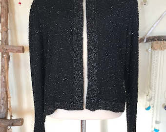 80s Black Beaded Blouse Medium
