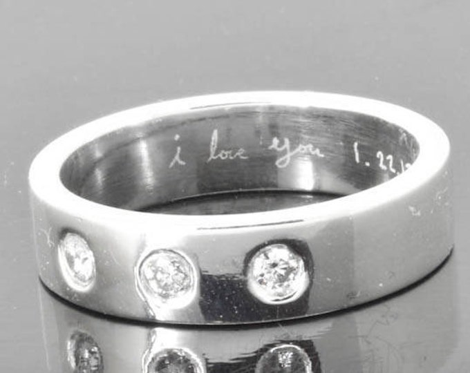 Diamond wedding band, wedding ring, engagement ring, mens ring, mens wedding band, man wedding ring band, men promise ring, engraved ring