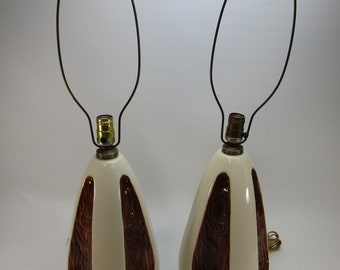 Pair of mid century ceramic lamps vintage brown and white