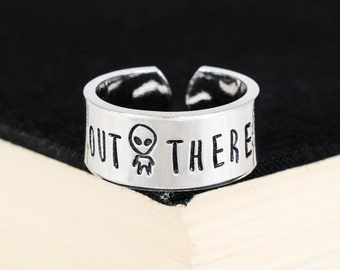 Out There Ring - Alien Jewelry - Aliens - Grey Man - UFO - 90s - Aluminum Cuff Ring