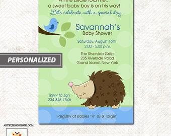 Hedgehog and Birdie Woodland Nature Baby Shower Invitation, Print your own or Printed Baby Shower Invitations