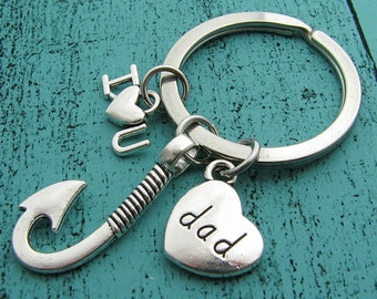 I love you dad keychain, hobby love fishing gift, gift for men, Father gift from kids, gift for dad husband, dad birthday gift Christmas