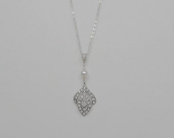 Bridal Vintage Style Crystal Necklace, Swarovski Pearls, Silver Tone, Sterling Silver Chain and Clasp, Rita - Will Ship in 1-3 Business Days