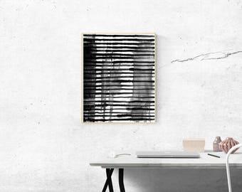 "DIGITAL PRINT ""Striped"" Black and White Modern Art"
