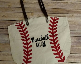 Personalized Baseball Tote Bag, Baseball Mom, Christmas gift, Mother's Day gift, mothers day gift, gift for mom