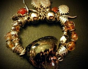 After Life Accessories Repurposed Stretch Charm Bronze, Brown Silver Sun & Heart Bracelet