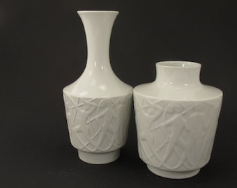 Two white relief vases by Edelstein Bavaria porcelain mid century Germany Kurt Wendler Paradise Eden
