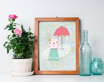 Bunny Nursery Art - 8x10 Bunny Nursery Print, Nursery Wall Decor, Woodland Nursery Decor, Woodland Creature