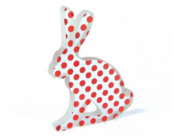 Polkadot Hare Glass Sculpture Screen Printed Enamel Custom Colours