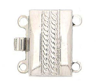 Two-Strand Box Clasp with Center Rope Detailing in Gold or Rhodium Finish, 13x8.5mm