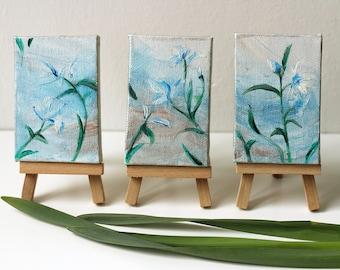 Original miniature flowers acrylic painting, dollhouse painting, miniature art, triptych art