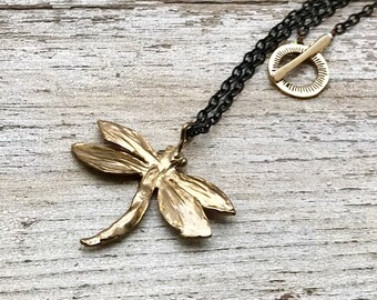 Brass Dragonfly Necklace    Black Gold Pendant Necklace Eclectic      for Her Under 80 Cool Fun Metal Quirky Gift for Sister Friend