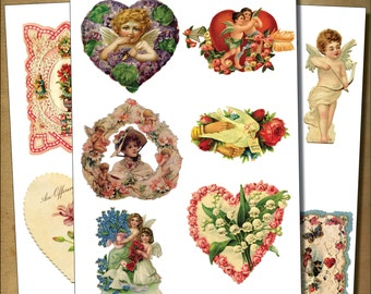Vintage Victorian Valentines Decoupage / cherubs /sticker- decoupage decal No.3