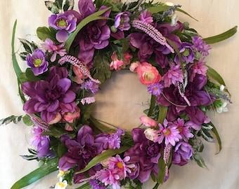 Spring Wreaths - Spring Wreaths for Front Door -  Spring Door Wreaths - Purple Wreaths - Summer Door Wreaths - Summer Wreaths for Front Door
