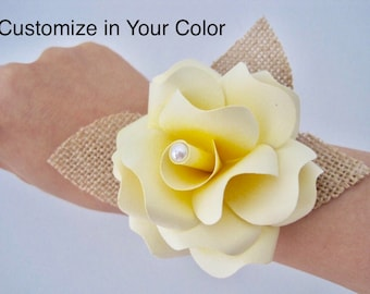 Wedding Corsages, Wrist Corsage, Paper Prom Wrist Band, Paper Flower Corsage, Paper Bridal Bracelet, Yellow Bridesmaid Corsage