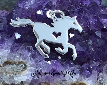 Horse Charm, Horse Pendant, Horse with Heart Charm, Running Horse Charm, Sterling Silver Charm, Flat Horse Charm, Horse Lover Charm, PS01621
