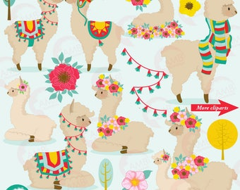 Llama Clip Art, Llama clipart, Alpaca clipart for scrapbooking, Cupcake Toppers, Paper Crafts, AMB-1985