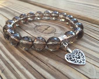 Smoky Quartz Bracelet with Heart Charm