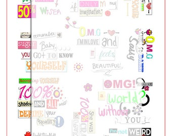 Quotes and sayings, individual scrapbook elements.  paper clipping word art,digital download.
