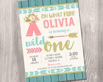 Wild one Birthday Invitation, girl first birthday invitation, 1st birthday, tribal birthday invitation, boho birthday, Printable Invitation
