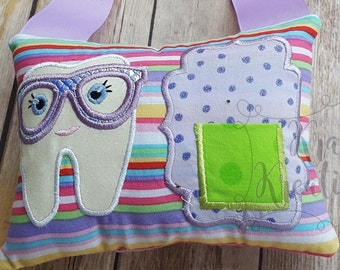 Custom tooth fairy pillow,first tooth,lost tooth,lost teeth,first lost teeth,lost first tooth,applique tooth pillow,name tooth pillow