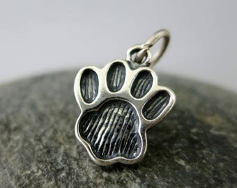 Large Sterling Silver Paw Print Charm, 12x15mm, with Jumpring, Dog Paw, Cat Paw, Ready to Ship!