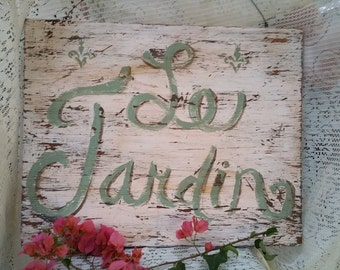 """French Shabby Chic """"Le Jardin"""" Distressed Wood Sign"""