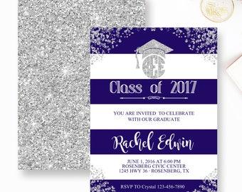 Graduation Invitation, Girl Boy Graduation Invite, Blue and White Stripe Grad invitation, Grad party Invite, Silver and Blue Grad, Any Color